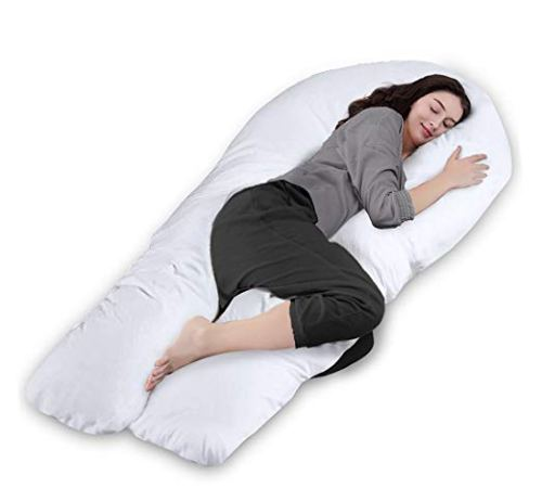 "Queen Rose 65"" Pregnancy Pillow- Full Body Pillow-U Shaped Maternity Pillow for Pregnant Women with Washable Outer Cover (White)"
