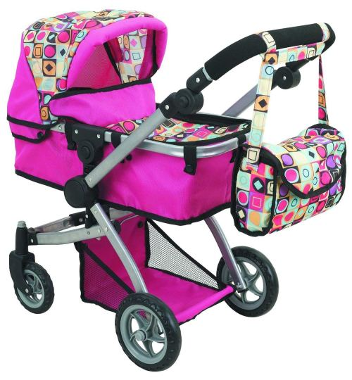 Doll Strollers Pro Deluxe Doll Stroller with Swiveling Wheels, Adjustable Handle, and Carriage Bag