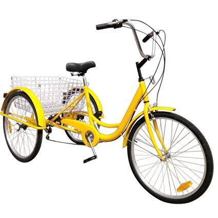 Popsport 24 Inch Adult Tricycle 6/7 Speed 3 Wheel Trike Cruise Bike