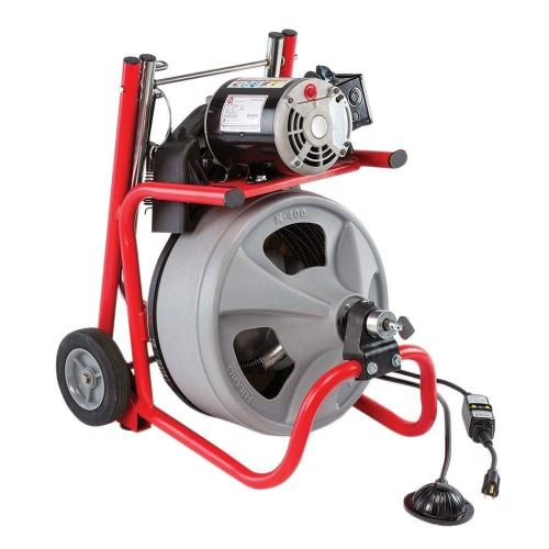 RIDGID 52363 K-400 Drum Machine with C-32 3/8 Inch x 75 Foot Integral Wound (IW) Solid Core Cable, Drain Cleaning Machine - Drain Cleaning Machines