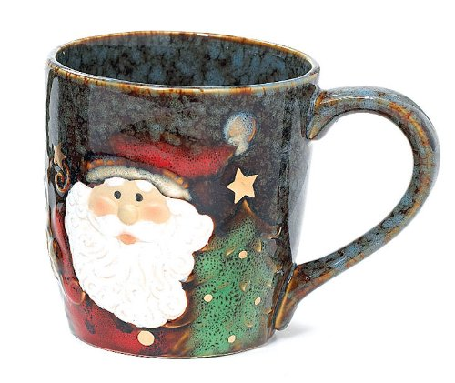 Yuletide Charms Collection 18 Ounce Santa Face Marbleized Porcelain Holiday Mug
