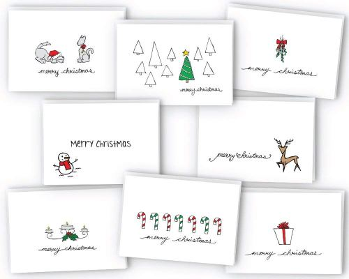 Merry Christmas Greeting Cards - 24 Cards & Envelopes