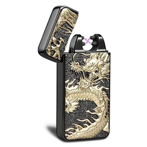 Kivors USB Rechargeable Windproof Flameless Electronic Plasma Pulse Double Arc Cigarette Lighter Chinese Dragon Loong Lighter