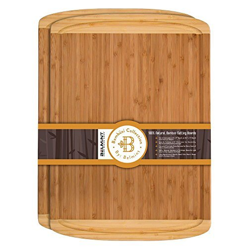 Premium Bamboo Cutting Board Set of 2 Large Chopping Board