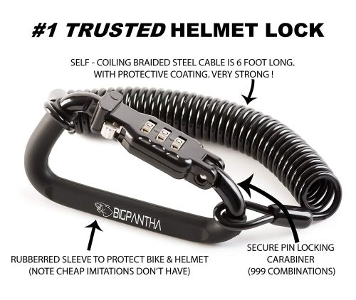 BigPantha Motorcycle Helmet Lock & Cable