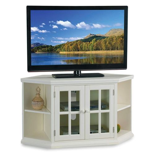 """White 46"""" Corner TV Stand with Bookcases"""
