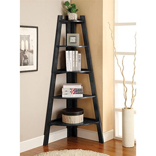 Furniture of America Lawler 5 Shelf Corner Bookcase in Black