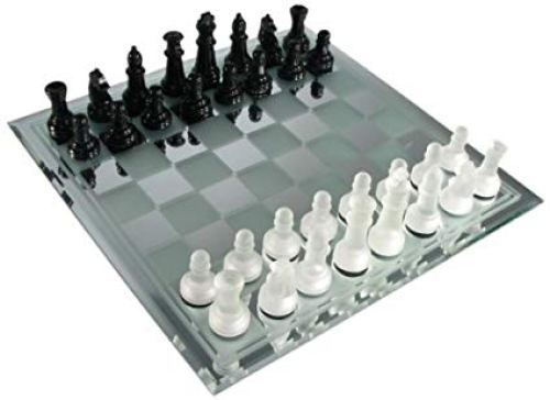 Avant-Garde Black Frosted Glass Chess Set
