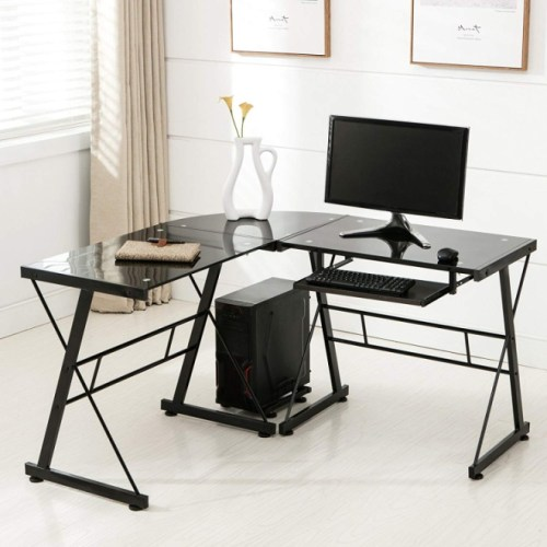 Mecor L Shape Tempered Glass Computer Desk