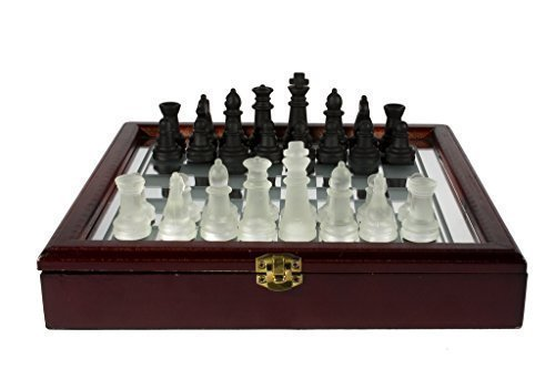 Glass Chess Set with Storage Case
