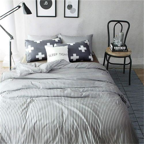 VM VOUGEMARKET 3 Piece Duvet Cover Set Queen,Striped Duvet Cover