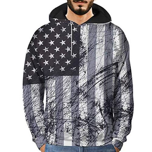 Men's Novelty Sweatshirts,Mens 3D Printed Graffiti Pullover Long Sleeve Hooded Sweatshirt Tops Blouse