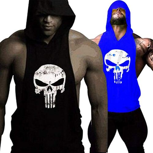 GZXISI Mens Skull Print Stringer Bodybuilding Gym Tank Tops Workout Fitness Vest