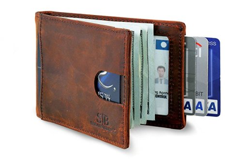 SERMAN BRANDS RFID Blocking Slim Bifold Genuine Leather Minimalist Front Pocket Wallets