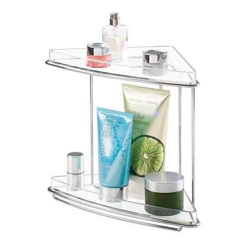 mDesign Metal 2-Tier Corner Storage Organizing Caddy Stand