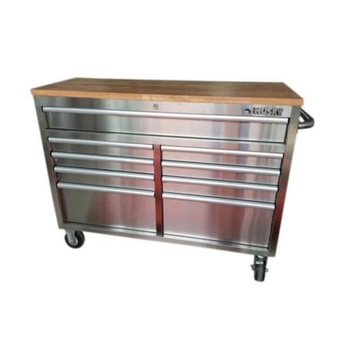 Husky 52 in. 9-Drawer Stainless Steel Rolling Workbench