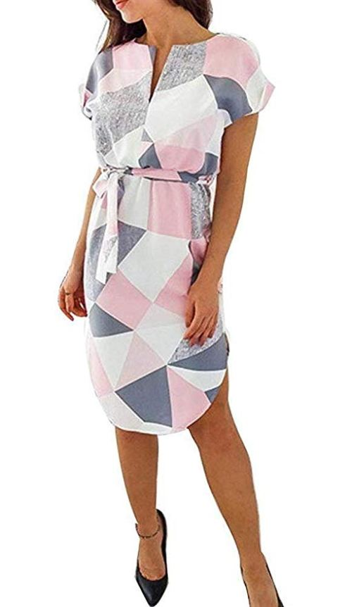 OopStyle Geometric Palazzo Patchwork Women Summer Dress