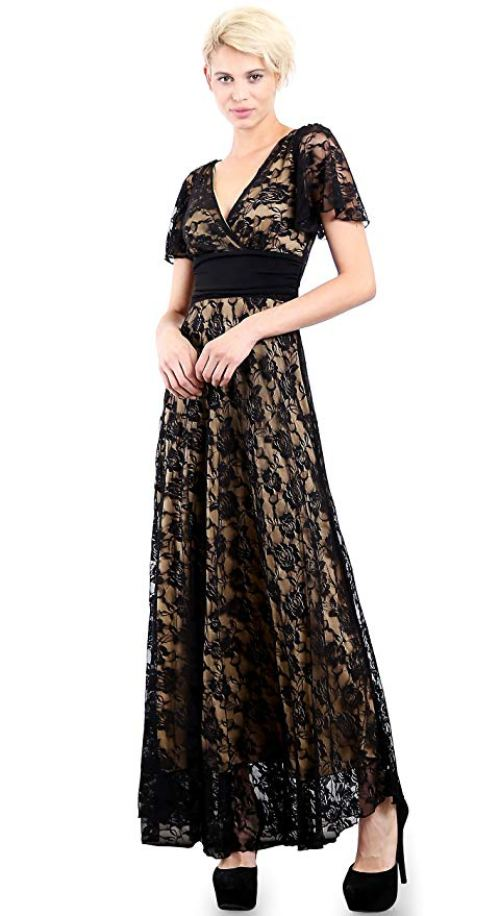EVANESE Women's Lace Evening Party Formal Long Dress Gown