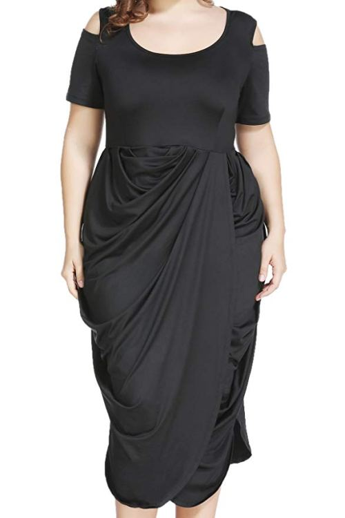Plus Size Half Sleeve Asymmetrical Draped Ruched Midi Dress