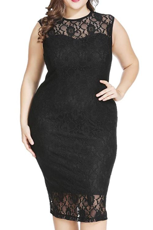Plus Size Formal Lace Sheath Midi Dress
