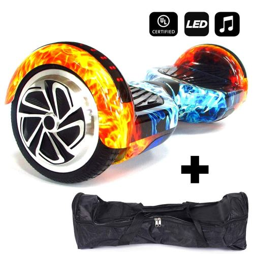 HUVTRON | Fire & Ice Self Balancing Hoverboard with Durable Aluminum Wheels (NOT Plastic) Built-in Bluetooth & Speaker, Fun LED Lights, and Carrying Case … - Cheap Hoverboards under 250$