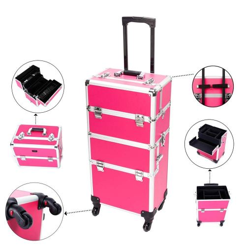 Mefeir 2-in-1 Rolling Makeup Train Case