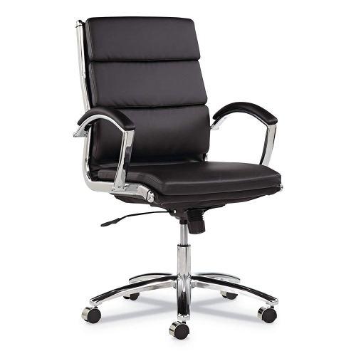 Alera ALENR4219 Neratoli Series Mid-Back Swivel/Tilt Chair, Black Leather, Chrome Frame
