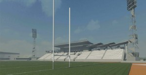 Artists' impression of Port Moresby's Sir John Guise Stadium, renovated for the 20215 Pacific Games. Credit: PeddleThorp