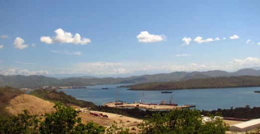 The AES-owned Ravuvu Business Park overlooking Fairfax Harbour, with Curtain Brother's PNG Dockyard in the distance.