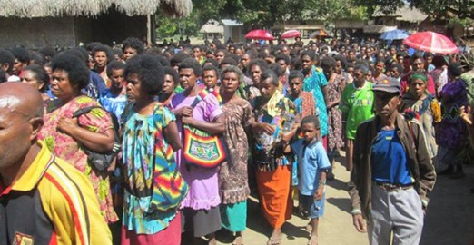 Some of the 1,000 women who attended financial literacy training given by Nationwide Microbank in Mangiang Village, Markham Valley, Morobe Province in 2013.