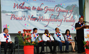 Prime Minister Peter O'Neill opening Prima Smallgoods' new Lae factory in September 2013