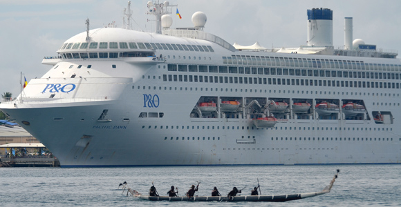 A P&O cruise liner arrives in Milne Bay. Credit: David Conn