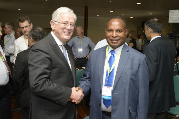Australia's Trade Minister, Andrew Robb, with PNG Trade Minister, Richard Maru. Credit: PNGBC