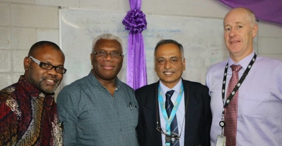Samson Vartovo (PNG Governance Program), Professor David Kavanamur (Acting Secretary for Higher Education), Professor Lakshmi Pillai (Dean, School of Business and Public Policy), and Nick Murphy (First Secretary, Australian High Commission Governance Section) at a recent Wigani seminar.