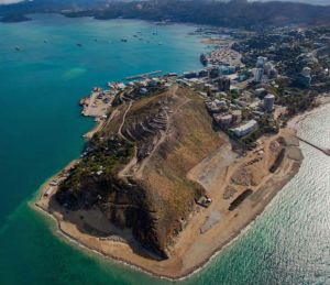 Aerial view of Paga Hill headland.