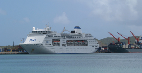 A P&0 cruise ship in Noumea harbour.