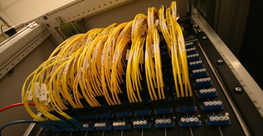 An optical fibre patch panel at an Internet Exchange. Credit: CC BY-SA 3.0