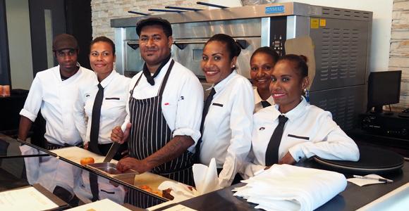Staff at The Italian, Lamana Hotel Credit: BAI