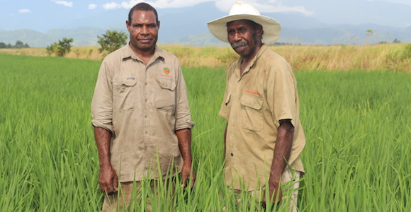 David Tima Trukai's senior operator (left) and Michael Maran (Chingwam Cooperative chairman) (right). Source: Trukai Industries