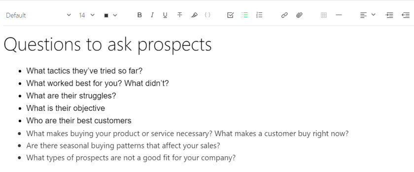 Example of Questions to ask your Business Prospects