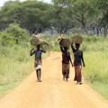 Ugandan women walking down path