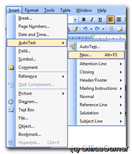 From the Insert menu, click AutoText and select New (press Alt+F3 if you prefer shortcuts). Re-use text in Word documents and Outlook messages thanks to AutoText