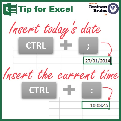 """If you have to frequently enter the current date and time into your spreadsheet e.g. in a log or diary entry, there's a quick way to do it without having to type the date, time or even looking at your calendar as shown in today's tip. While I have been using this for many years, only recently and by accident did I discover that I could use this shortcut to insert the date/time anywhere inside some other text; e.g. in a cell start typing """"This report was updated on """" and pressed [CTRL] + [;]. Handy, eh? You may already use =Today() and =Now() to always display the current date and time in a workbook. These however will refresh every day/time the workbook is saved. Go on, try it."""