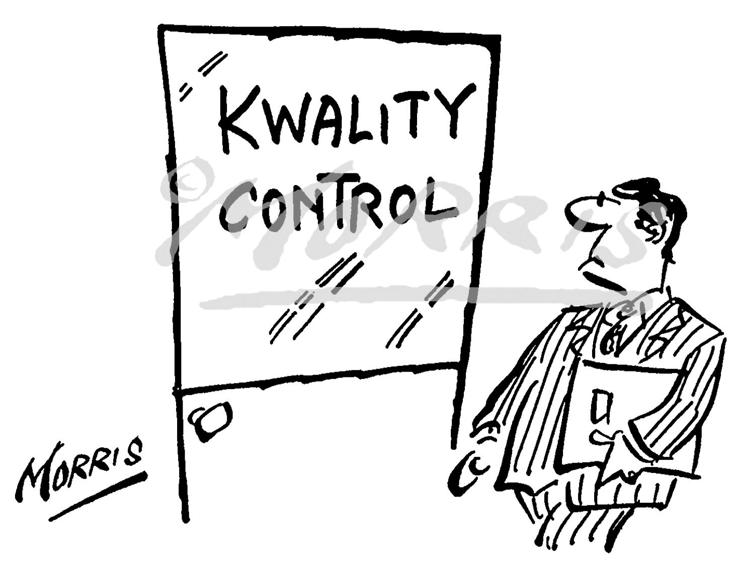 Quality Control Comic Cartoon Ref Bw