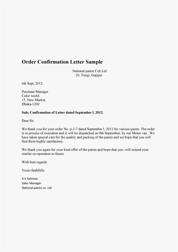 Order Letter Sample And Order Confirmation Letter Sample
