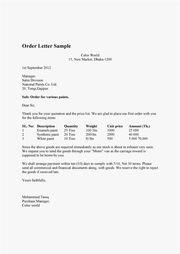 Order Letter Sample and Order Confirmation Letter Sample – Purchase Order Letter Template