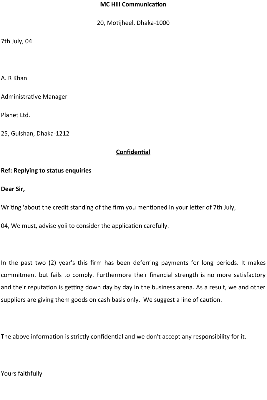Status Inquiry Letter Sample for Effective Communication – Enquiry Letter Format