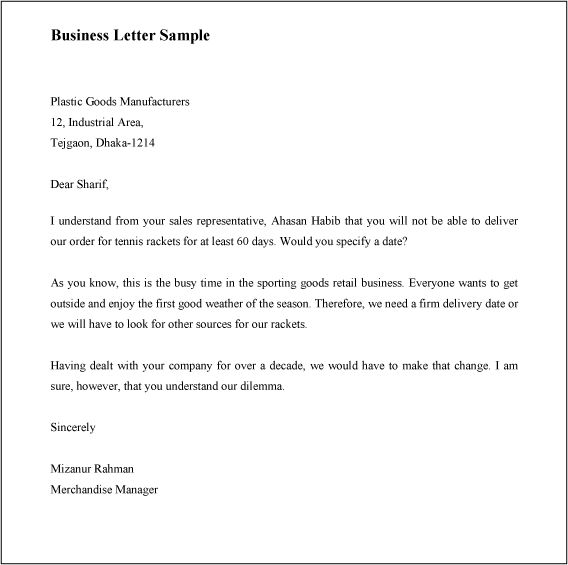 How To Write A Business Letter With Sample