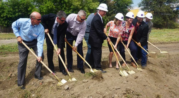 A ground-breaking ceremony on Tuesday kicked off construction of a new apartment complex. Photo by Burl Rolett.