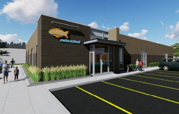 A rendering of the under-construction 9,000-square-foot swim school at 9119 E. 50th Ave. (Courtesy Goldfish)